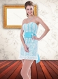 Cute Detachable Light Blue Lace Prom Dresses with Ruffled Layers