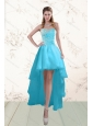 Fashionable Baby Blue Prom Gown with Beading and Ruffles