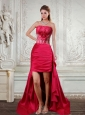 High Low Strapless Ruffled Coral Red Prom Dresses with Hand Made Flower