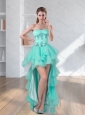 High Low Turquoise Sweetheart Prom Dresses with Embroidery