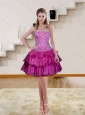Luxurious Multi Color Ruffled Embroidery Prom Dresses in Fuchsia