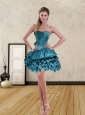Teal Sweetheart Short Prom Dress with Ruffled Layers and Beading