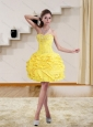 Yellow Beaded Sweetheart Short 2015 Puffy Prom Dresses