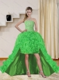 2015 Beautiful Spring Green High Low Prom Dresses with Beading