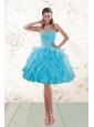 2015 Fashionable Baby Blue Beaded Prom Gown with Ruffles