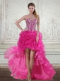 2015 Hot Pink High Low Sweetheart Prom Dresses with Beading and Ruffled Layers