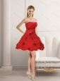 2015 New Style Red Strapless Prom Dresses with Beading and Hand Made Flower