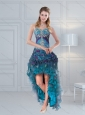 2015 Pretty Straps Multi Color Prom Gown with Embroidery and Hand Made Flower