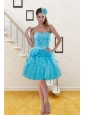 2015 Pretty Sweetheart Beaded Aqua Blue Prom Dresses with Beading