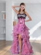 2015 Zebra Printed Strapless High Low Rose Pink Prom Dresses with Embroidery