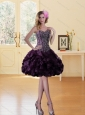 Beading Burgundy Sweetheart Prom Dress with Ruffled Layers