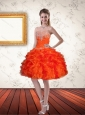Gorgeous Sweetheart Orange Prom Dresses with Ruffles and Beading