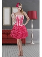 Hot Pink Sweetheart 2015 Pretty Prom Dresses with Pick Ups and Embroidery