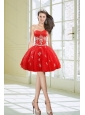 Hot Sale Ball Gown Sweetheart Appliques Red Prom Dresses for 2015