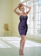 New Style Purple Column Sweetheart Prom Dreses with Embroidery