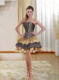 Popular Gold Strapless Leopard 2015 Prom Dresses with Ruffled Layers and Beading