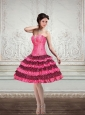 2015 Ball Gown Printed Strapless Ruffled Prom Dresses in Hot Pink and Black
