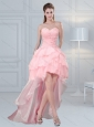 2015 Cute Baby Pink Sweetheart Beaded Prom Dresses with Ruffled Layers