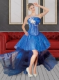 2015 Cute Puffy Strapless High Low Blue Prom Dresses with Beading
