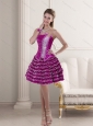 2015 Fuchsia Strapless Prom Dresses with Ruffled Layers and Beading