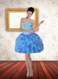 2015 Sweetheart Beading Ruffled Layers Short Prom Dress in Multi Color