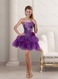 Beautiful Purple Strapless 2015 Prom Dresses with Beading and Ruffles