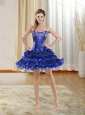 Cute Royal Blue Sweetheart Prom Dresses with Ruffled Layers and Beading