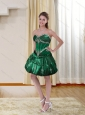 Dark Green Sweetheart Prom Dresses with Beading and Appliques