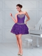 Eggplant Purple Beading Mini Length Prom Dresses with Ruffled Layers