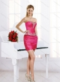 Gorgeous Hot Pink Short Prom Dresses with Appliques and Pick Ups