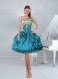 Teal Straps Beaded 2015 Prom Dress with Lace and Embroidery