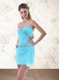 2015 Gorgeous Light Blue Prom Dresses with Flower and Appliques