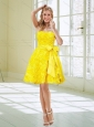 2015 Yellow Strapless Prom Dresses with Hand Made Flower and Bowknot