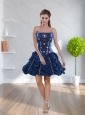 Navy Blue 2015 Prom Dresses with Pick Ups and Beading