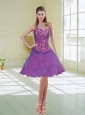 Purple Sweetheart Beaded 2015 Prom Dress with Ruffled Layers and Appliques