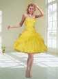 Yellow Ball Gown Sweetheart Prom Dresses with Beading and Ruffles