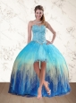 2015 Baby Blue Sweetheart Multi Color Prom Dresses with Ruffles and Beading