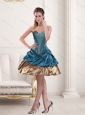 2015 Simple Sweetheart Beading and Ruffled Prom Dresses in Teal and Brown