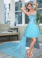 High Low Sweetheart Beading Prom Dress in Baby Blue