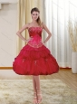 Popular Strapless Beading and Ruffled 2015 Prom Dresses in Red