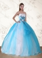 2015 Pretty Multi Color Strapless Quinceanera Dress with Embroidery and Beading