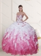 2015 Sophisticated Sweetheart Quinceanera Dress in White and Pink with Beading and Ruffles