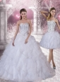 2015 Sweetheart White Quinceanera Dress with Ruffles and Beading