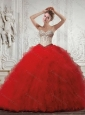 Inexpensive Sliver and Red Quinceanera Dresses with Beading and Ruffles