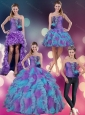 Multi Color Strapless Quinceanera Dress with Beading and Ruffles