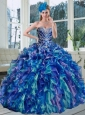 Popular 2015 Multi Color Quinceanera Dresses with Beading and Ruffles