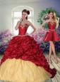 Pretty 2015 Sweetheart Wine Red Brush Train Quinceanera Dress with Beading