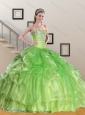 Spring Green Sweetheart Quinceanera Dress with Appliques and Ruffles
