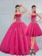 Sweetheart Hot Pink Quinceanera Dress with Appliques and Beading