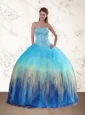 Sweetheart Multi Color Quinceanera Dress with Ruffles and Beading
